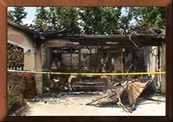 home burnt by mustang fire